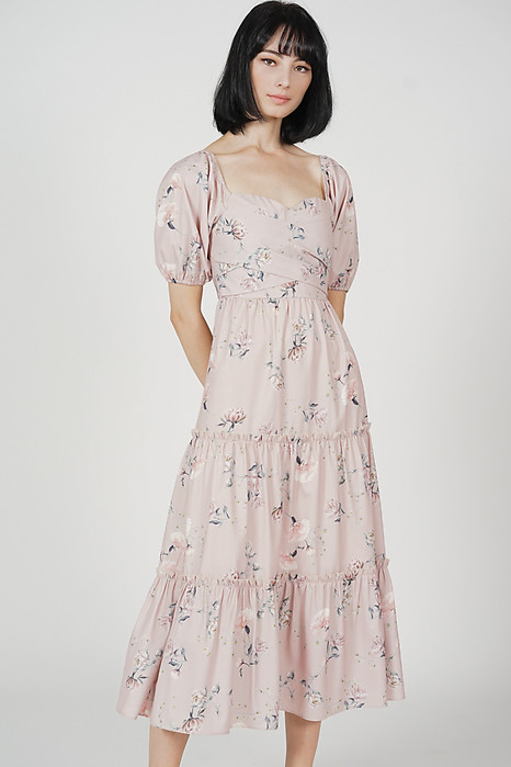 Lucinda Gathered Dress in Nude Porcelain Bloom