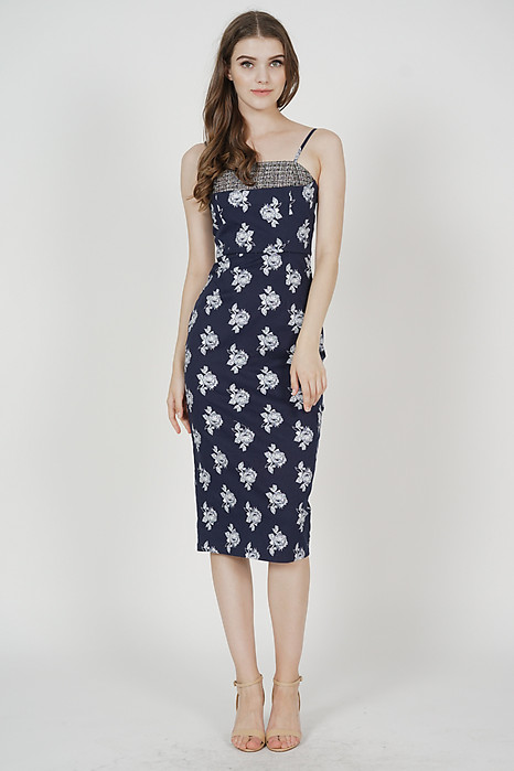 Maegen Contrast Tweed Dress in Midnight