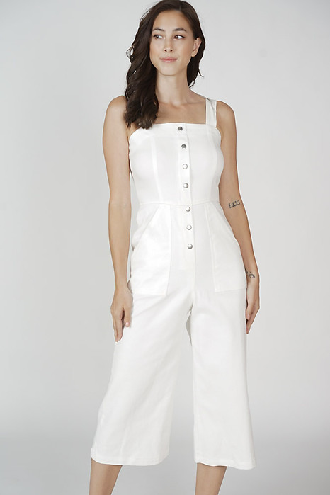 Salva Buttoned Midi Jumpsuit in White - Arriving Soon