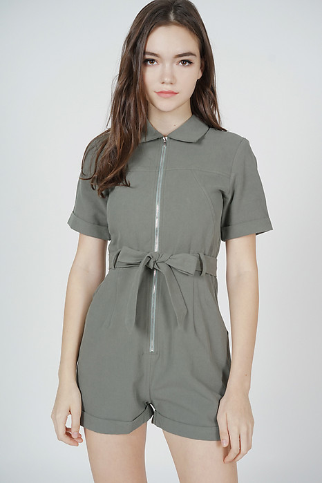 Esme Zipper Romper in Khaki