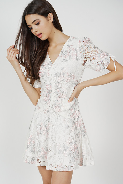 Chitra Gathered Front Lace Dress in White - Arriving Soon