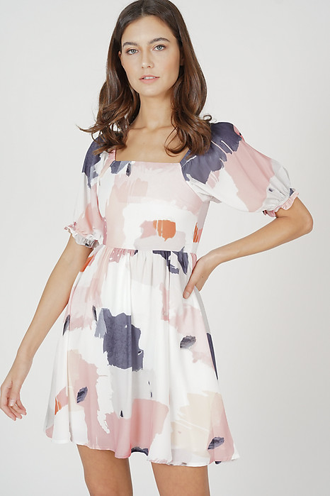 Rayne Gathered Dress in Pink Abstract
