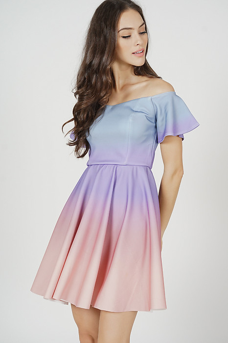 Micah Ombre Dress in Lilac Pink