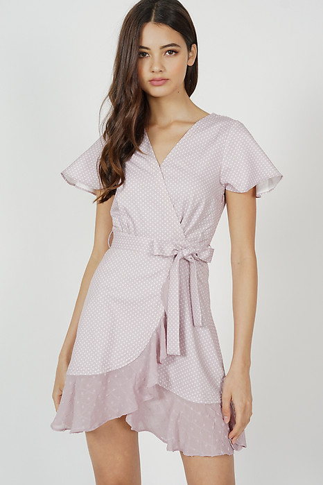 Shelby Flutter Ruffled Dress in Pink Polka Dots - Arriving Soon