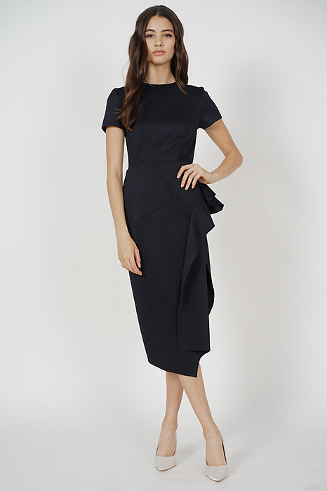 Erin Midi Ruffled Dress in Black