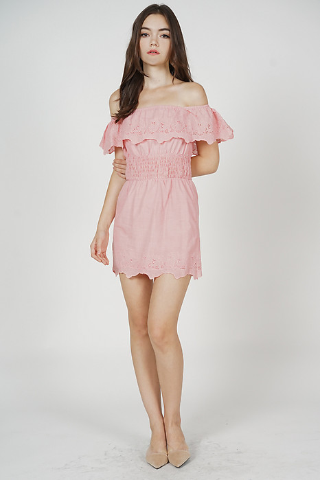 Valyn Eyelet Dress in Pink - Arriving Soon