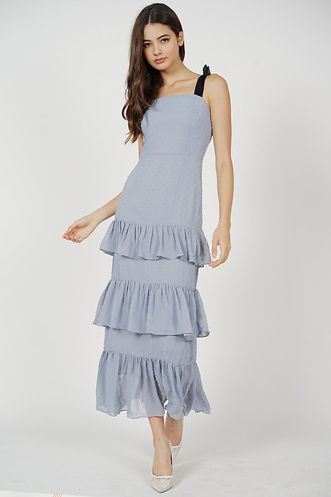 Barry Tiered Dress in Ash Blue