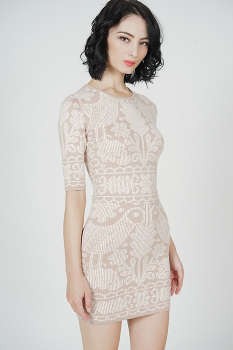 Camry Knit Dress in Beige