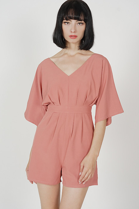 Quinn Sleeved Romper in Pink