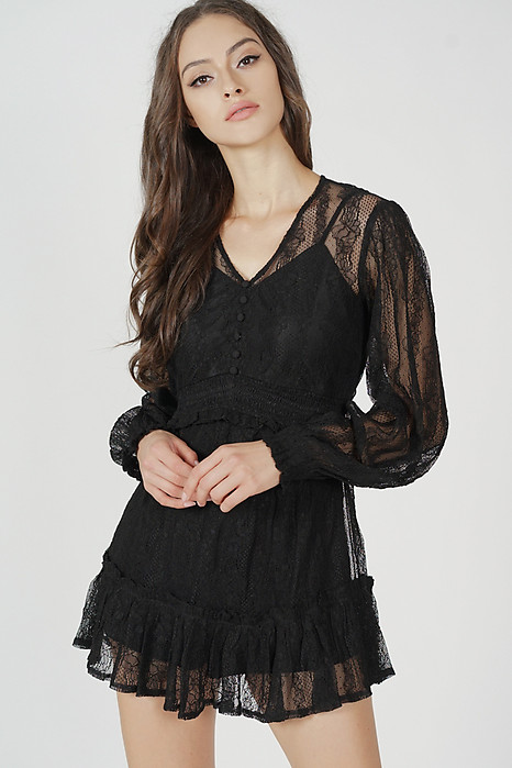 Elgen Lace Romper in Black