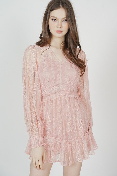 Jasten Lace Romper in Pink - Arriving Soon