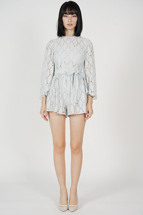 Mika Eyelet Romper in Ash Blue - Arriving Soon
