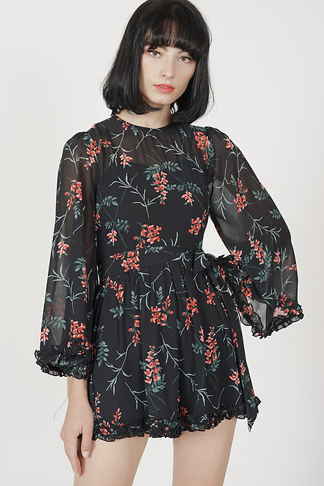 Sofiya Gathered Romper in Black Floral - Arriving Soon
