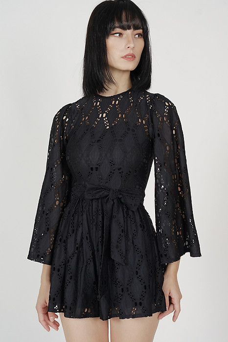 Mika Eyelet Romper in Black - Arriving Soon