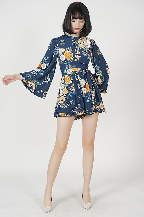 Sofiya Gathered Romper in Navy Floral