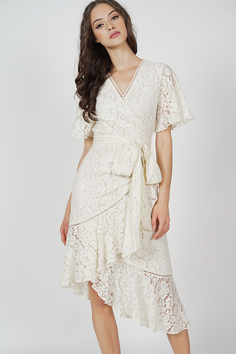Reika Tie Wrapped Dress in Cream - Arriving Soon