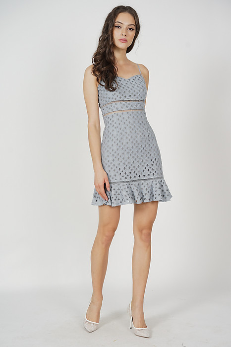 Ellya Ruffled-Hem Dress in Ash Blue