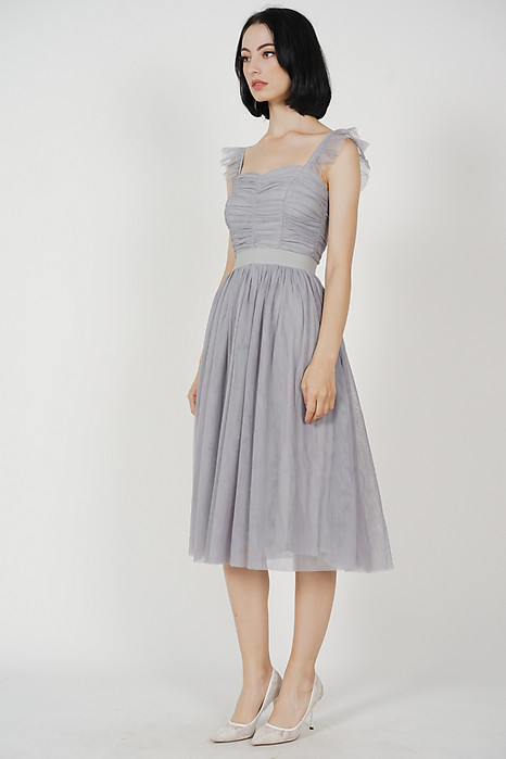 Lyra Gathered Tulle Dress in Grey