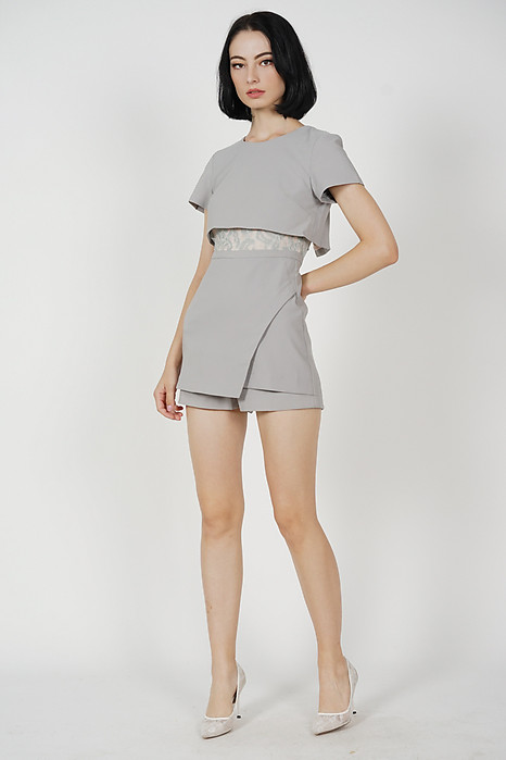 Emerson Overlay Skorts Romper in Grey