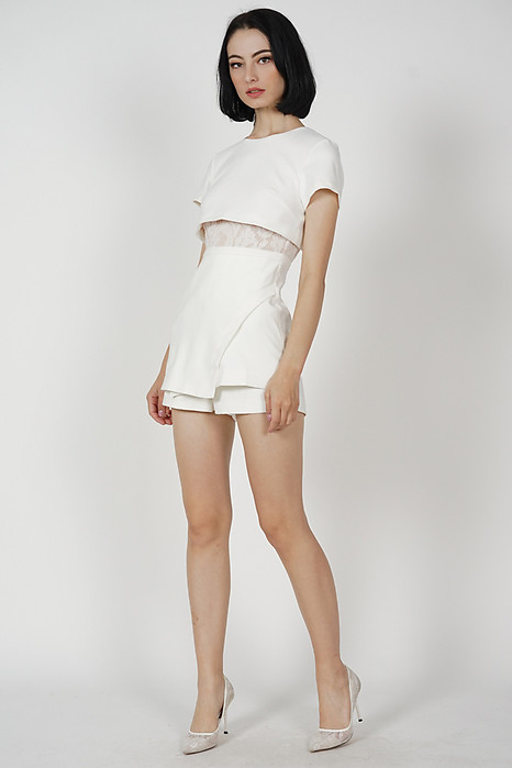 Emerson Overlay Skorts Romper in White
