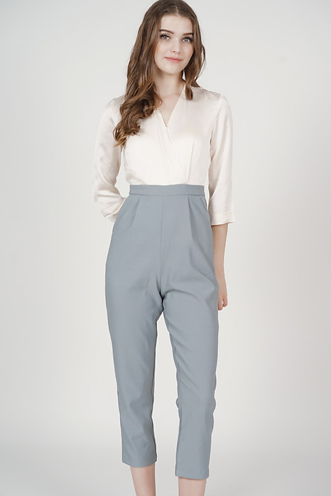 Rickie Contrast Jumpsuit in Ash Blue