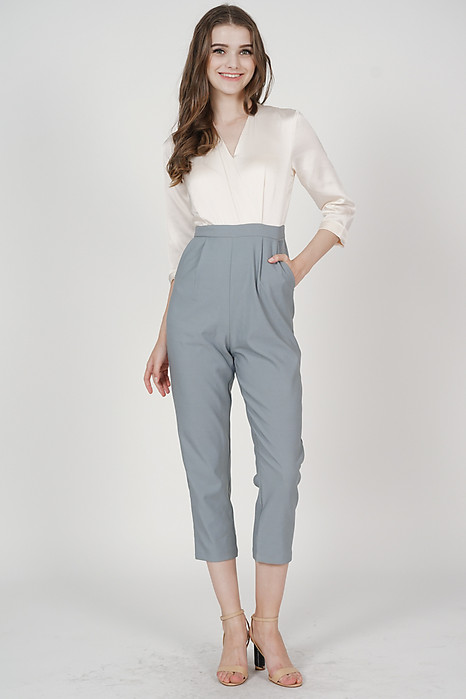 Rickie Contrast Jumpsuit in Ash Blue - Arriving Soon