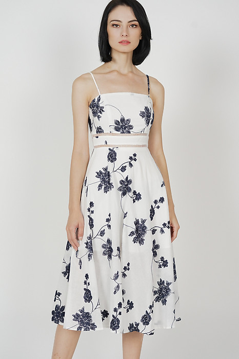 Beatrice Flared Dress in White Floral