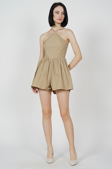 Emilie Strappy Romper in Khaki - Arriving Soon