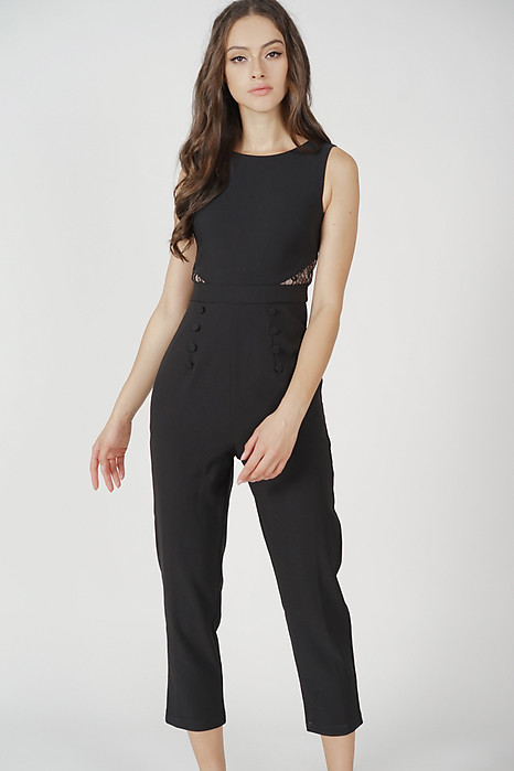 Marlow Lace-Trimmed Jumpsuit in Black