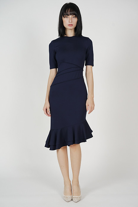 Doari Ruffled-Hem Dress in Midnight