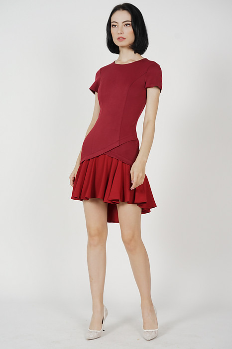 Claren Ruffled-Hem Dress in Maroon
