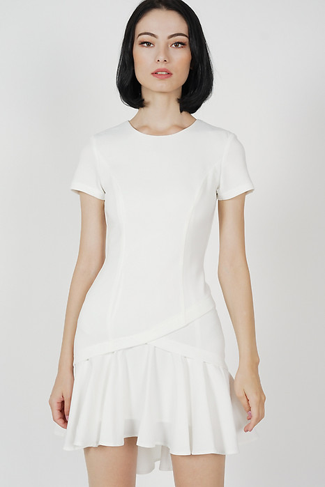Claren Ruffled-Hem Dress in White