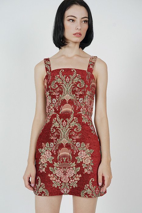Dima Flared Dress in Maroon