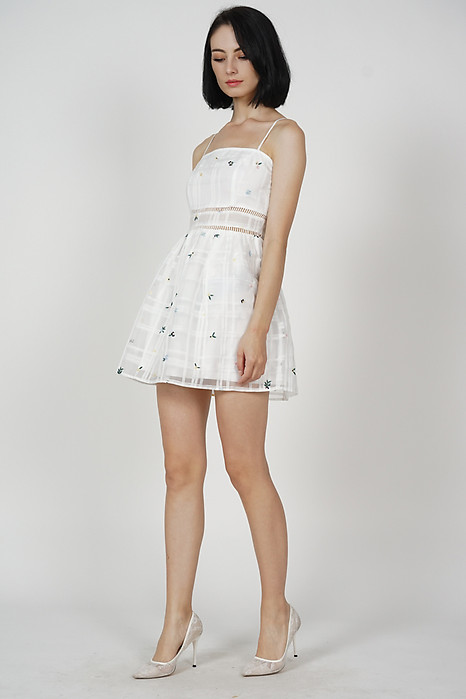 Mitchi Flared Dress in White Floral