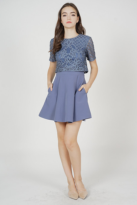 Eliza Overlay Lace Dress in Blue - Arriving Soon
