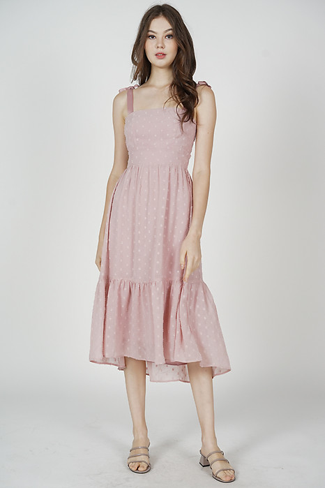 Jugrie Ruffled-Hem Dress in Pink - Arriving Soon