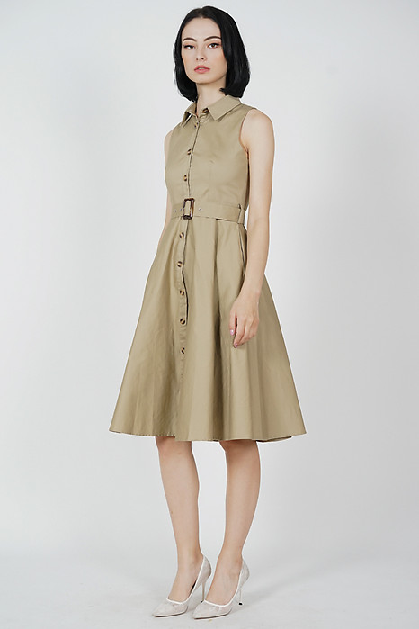 Marcie Buttoned Midi Dress in Khaki - Arriving Soon