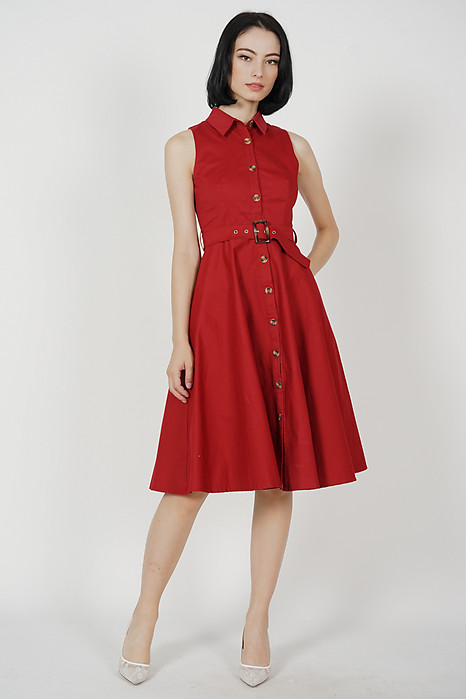Marcie Buttoned Midi Dress in Red - Arriving Soon