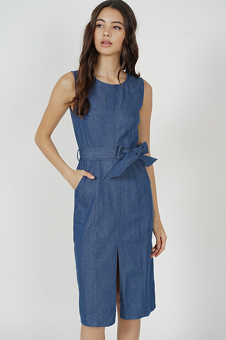 Tarah Denim Dress in Blue