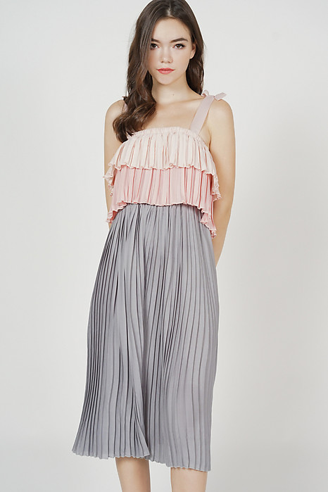 Crixa Pleated Midi Jumpsuit in Grey
