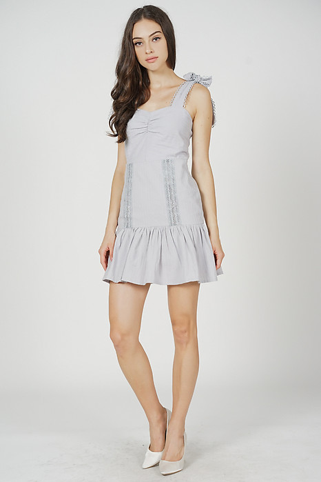 Brooke Ruffled-Hem Dress in Ash Blue