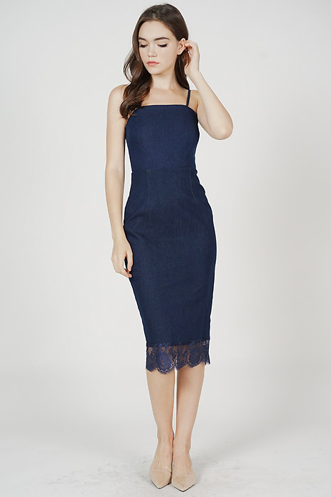 Watson Lace-Trimmed Denim Dress in Blue - Arriving Soon