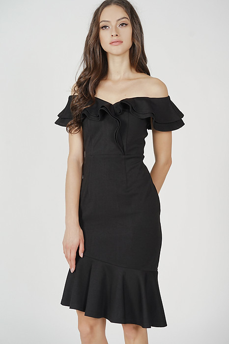 Kallen Flounce Mermaid Dress in Black