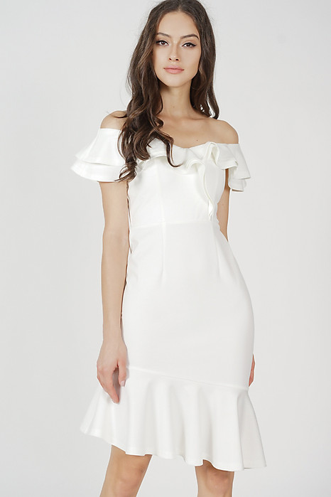 Kallen Flounce Mermaid Dress in White