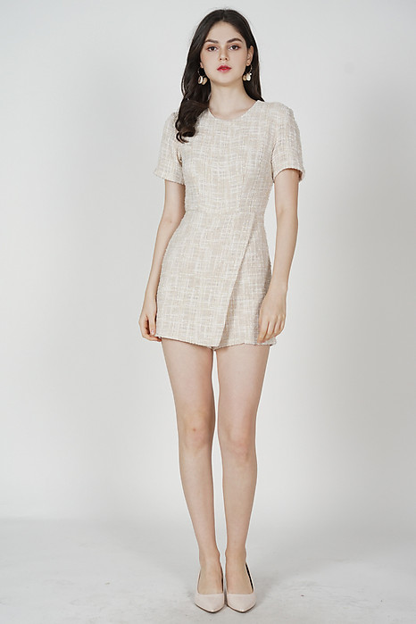 Helene Tweed Romper in Beige
