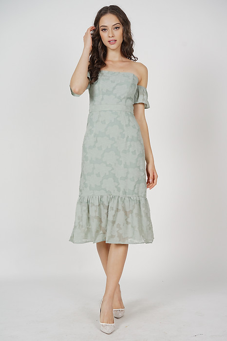 Ellis Ruffled-Hem Dress in Mint - Arriving Soon