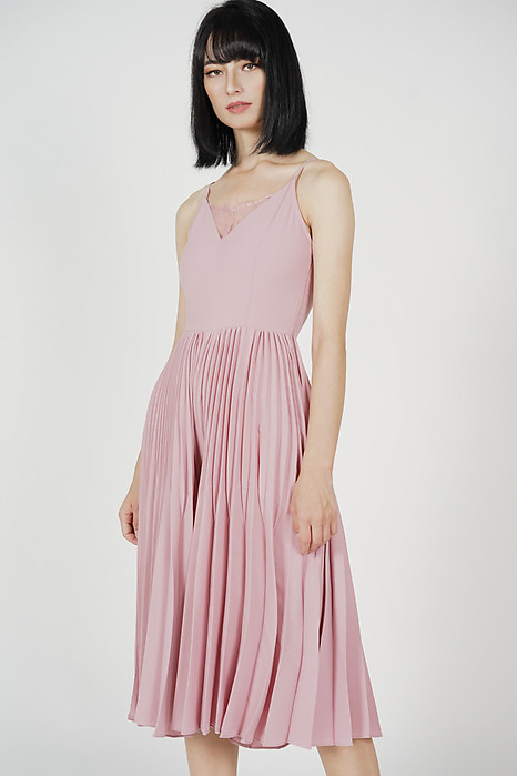 Drevis Pleated Jumpsuit in Pink - Arriving Soon