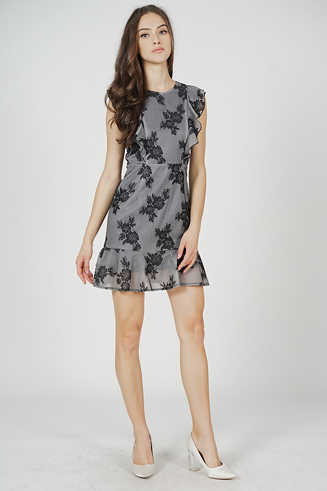 Poppie Ruffled Dress in Black