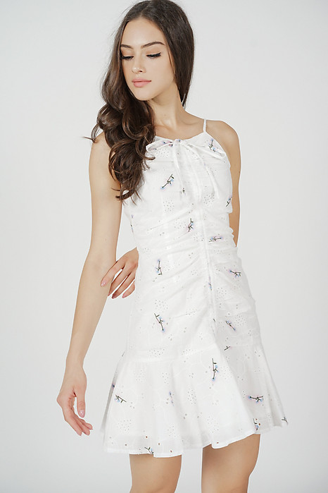 Lona Gathered Front Dress in White