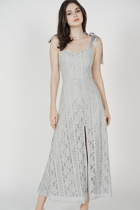 Martie Lace Dress in Ash Blue